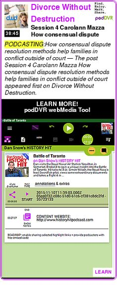#PODCASTING #PODCAST  Divorce Without Destruction    Session 4 ? Carolann Mazza ? How consensual dispute resolution methods help families in conflict outside of court    LISTEN...  http://podDVR.COM/?c=1503f299-5b5b-89e4-88d2-c31f6a23f658