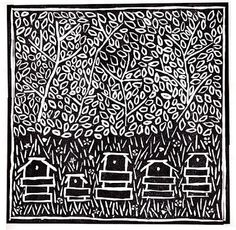Beehives Lino Cut