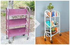 Salvaged library cart makeover with wooden plant shelves - Plaster & Disaster Hairpin Leg Dining Table, Wood Storage Rack, Hanger Bolts, Building A Workbench, Adobe House, Rustic Wood Walls, Custom Cushions, Plant Shelves, Furniture Makeover