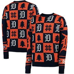 Detroit Tigers Patches Ugly Pullover Sweater - Navy - $69.99