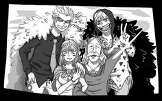 Doflamingo's hand on his mother's shoulder...That's really sweet. And Cora-san XD