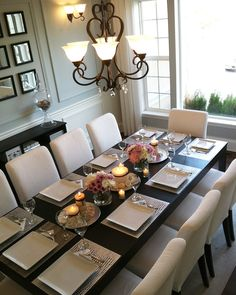 With my dining room being under construction, I can't help but think of this beauty from last year on this special day! Happy Thanksgiving everyone! Dining Room Table Centerpieces, Formal Dining Tables, Dinning Room Tables, Elegant Dining Room, Decoration Table, Dining Room Furniture, Dining Room Paint Colors, Dining Room Design, Dinner Room