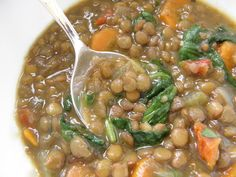 Lentil Soup - this healthy soup is so easy and has so much great flavor with added sundried tomato, spinach, white wine and herbs.