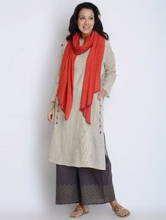 Buy Cream-Charcoal Pintuck Detailed Cotton Kurta Online at Jaypore.com