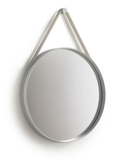 Miroir mural Strap / Ø 70 cm Gris clair - Hay Hay Design, Scandinavia Design, Small Furniture, Office Accessories, Round Mirrors, Fashion Room, Decorative Accessories, Interior Decorating, Interior Design