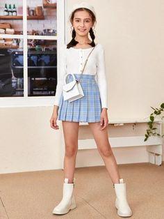 Girls Zipper Side Tartan Pleated Skirt – Kidenhouse Girly Girl Outfits, Cute Skirt Outfits, Cute Girl Dresses, Cute Comfy Outfits, Kids Outfits Girls, Cute Outfits For Kids, Cute Skirts, Teen Outfits, Young Girl Fashion