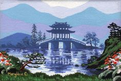 Original oil painting on canvas (unframed) | Blue and green japanese landscape | Painting by Savousepate - pinned by pin4etsy.com #pagoda #art
