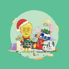 Star Wars Christmas Card - C3PO & R2D2 attempting to bake for Christmas.