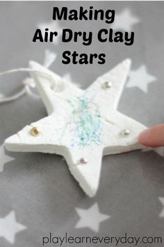 A simple way to make air dry clay and use it to make pretty stars that can be decorated by children for an easy Christmas craft or for any occasion.