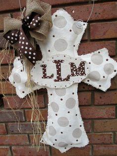 Cross with Baby Burlap Door Hanger Gender Neutral Velcro Initial Plate on Etsy, $36.00