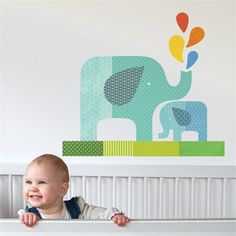 Blue Elephant Baby Fabric Wall Decal <3