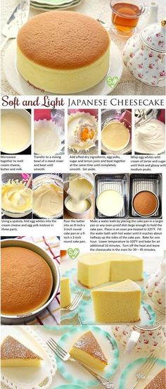 SugaryWinzy suave y ligero como el aire japonés pastel de queso Soft like a pillow and light as air, diet-friendly Japanese cheesecake delivers a delicious rich flavor of cream cheese with a subtle tanginess of lemon that won't compromise your diet. Just Desserts, Delicious Desserts, Dessert Recipes, Yummy Food, Brunch Recipes, Light Desserts, Asian Desserts, Cupcake Recipes, Japanese Cheesecake Recipes