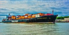 Stuttgart Express with Shipping Containers on Savannah River (via Paul Garrett, Flickr)
