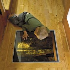 boy peering through the window in the floor of remodeled houseboat