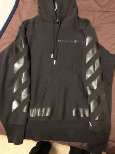 Off White X Champion Hoodie Black Size Small Authentic W Receipt Fashion Clothing Shoes Accessor White Hoodie Jacket Off White Hoodie Champion Hoodie