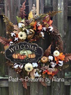 Cotton Rustic Wreath,Welcome Fall Wreath,Rustic Wreath,Grapevine Wreath,Pumpkin Wreath,Harvest Wreat Fall Mesh Wreaths, Fall Deco Mesh, Autumn Wreaths, Christmas Wreaths, Wreath Fall, Door Wreaths, Rustic Wreaths, Harvest Decorations, Thanksgiving Decorations
