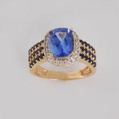 Tanzanite, Blue Sapphire, White Topaz. White Topaz Ring in 14k Gold Ring Jewelry-