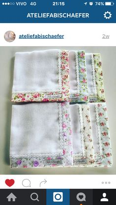 Appears to be gauze fabric with cotton print and lace border. Inspiration, no pattern. Sewing For Kids, Baby Sewing, Free Machine Embroidery Designs, Hand Embroidery, Baby Sheets, Baby Accessories, Burp Cloths, Fabric Scraps, Baby Quilts