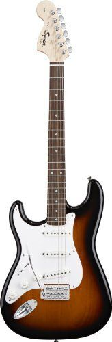 Squier by Fender Affinity Stratocaster Rosewood Left Handed, Brown Sunburst by Squier by Fender. $179.99. Dressed in new eye-popping finishes, these Fender®-designed Stratocaster® guitars have a great look and feel. With a contoured alder body, bolt-on maple neck with rosewood fingerboard and late '60s headstock, three single coil pickups and standard tremolo system, the Affinity Series Strat® guitar has all the vintage vibe at a fraction of the price.
