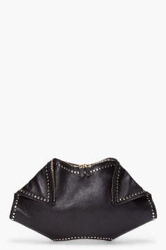 Alexander McQueen black studded manta clutch for women | SSENSE