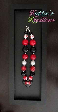 Child, Toddler, Girls Chunky Beaded Necklace - Girlie Minnie Pendant. $18.00, via Etsy.