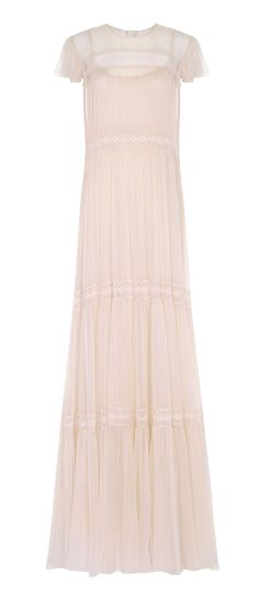 Needle & Thread Lace-paneled Crinkled-chiffon Gown In Ballet Pink Pink Evening Gowns, Pink Gowns, Pink Dress, Dress Lace, Sheer Gown, Chiffon Gown, Long Bridesmaid Dresses, Long Dresses, Pretty Dresses