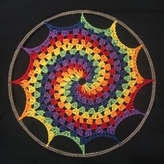 Ravelry: Rainbow Granny Spiral Sun-Catcher pattern by Jaime Ramsey Spiral Crochet, Freeform Crochet, Crochet Granny, Crochet Motif, Crochet Doilies, Crochet Flowers, Crochet Stitches, Knit Crochet, Crochet Patterns