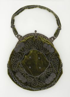 Woman's Handbag | LACMA Collections United States, 1880-1889 Costumes; Accessories Silk velvet, silver, cut steel beads, brocaded silk 8 1/2 x 8 in. (21.59 x 20.32 cm)