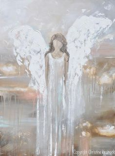 """""""Delicate Strength"""" - Art, abstract, angel painting depicting a stunning guardian angel descending from Heaven, providing strength, love, hope, and comfort. Giclee Print / Canvas Print of original art, abstract, guardian angel painting. This contemporary, spiritual piece possesses not only a comforting, heavenly sense of peace and calm, but with its' soothing shades of pale neutral colors & textured layers of paint, it also contains a contemporary, stylish, classic feel, perfect for any…"""