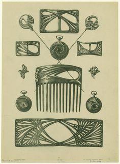 Bijoux modernes - from a series of Art Nouveau designs by Rene Beauclair Motifs Art Nouveau, Design Art Nouveau, Art Nouveau Pattern, Bijoux Art Nouveau, Art Nouveau Jewelry, Jewellery Sketches, Jewelry Drawing, Art And Illustration, Jugendstil Design