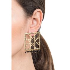Alhambra square drop earrings with Onyx Inspired by the geometry and symmetry of Byzantine art, these earrings fuse traditional aesthetics with contemporary elegance.
