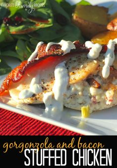 Love! Love! Love! This Gorgonzola & Bacon Stuffed Chicken Breasts! It just oozes cheesy deliciousness!