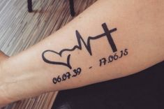 Tatuaje de electrocardiograma de fe, esperanza y amor