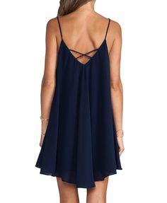 Sexy Style Flouncing Hem Dark Blue Cami Dress