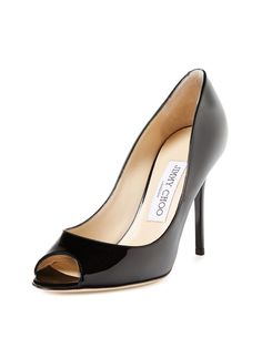 Mia Patent Leather Peep-Toe Pump by Jimmy Choo at Gilt