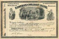 Eastman College Bank 4 shares à 100 $ 2.4.1895.