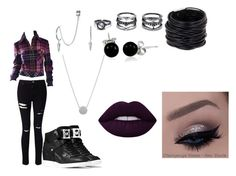 """""""Dreary"""" by hardcoregamergirl on Polyvore featuring Miss Selfridge, Saachi, LULUS, Bling Jewelry, French Connection, Lime Crime and MICHAEL Michael Kors"""