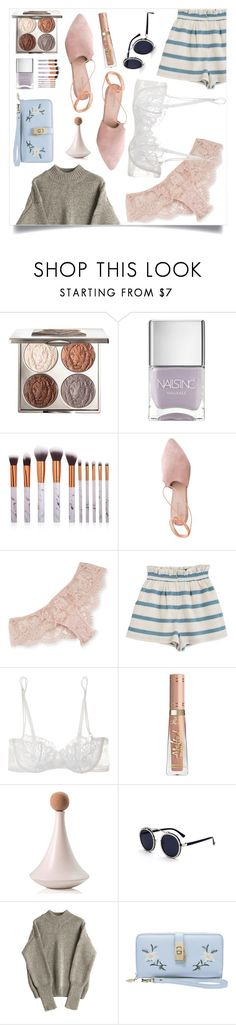 """""""Learning To Dance In The Rain"""" by violet-peach ❤ liked on Polyvore featuring Chantecaille, Nails Inc., Summit, I.D. SARRIERI, Mara Hoffman, La Perla, StreetStyle, pretty, afterparty and statementbags"""