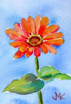 Zinnia  Flower  ACEO ORIGINAL  Watercolor  Painting   Gardens  Flower  signed #Miniature