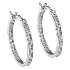 Sterling Silver Rhodium Plated Cubic Zirconia Inside Out Hoop Earrings, 24mm * You can find more details by visiting the image link.