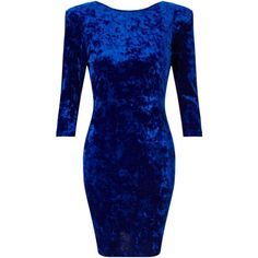 Miss Selfridge Long Sleeve Velvet Dress, Dark Blue ($22) ❤ liked on Polyvore featuring dresses, gowns, blue bodycon dress, long-sleeve mini dress, bodycon midi dress, long sleeve party dresses and bodycon maxi dress