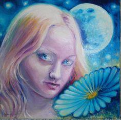 Floare albastra, pictura ulei pe panza inspirata din poezia lui Mihai Eminescu