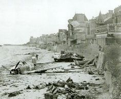 Juno Beach, D-Day. Site of Canadian Infantry Division landing on 6 June The crashed aircraft is a C (or early D) Thunderbolt Canadian Army, Canadian History, D Day Normandy, Normandy Ww2, D Day 1944, Juno Beach, D Day Landings, World History, Military History
