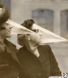 """""""Face Cones"""": a fashionable way to protect oneself during snowstorms (1939)."""