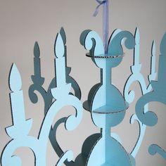 Custom Color laser-cut Cardboard chandelier I found on Etsy.  Choose your color!   Fabulous.