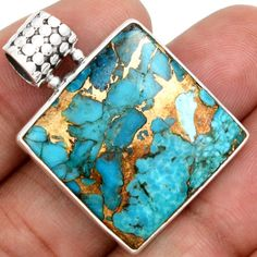 Copper-Blue-Arizona-Turquoise-925-Sterling-Silver-Pendant-Jewelry-SP145388