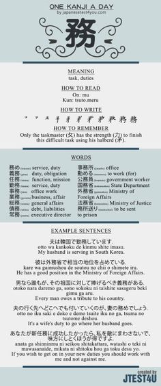 Learn one Kanji a day with infographic: 務 (mu)