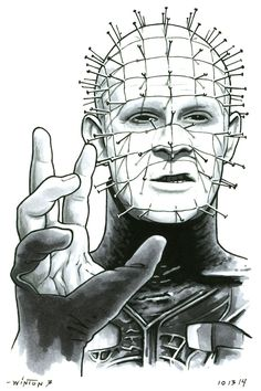 "byronwinton: ""Pinhead - Hellbound: Hellraiser II ""But please, feel free, explore."" - Pinhead Pen, pencil, and marker. All Horror Movies, Horror Movie Characters, Scary Movies, Arte Horror, Horror Art, Chibi Marvel, Horror Drawing, Horror Themes, Geisha Art"