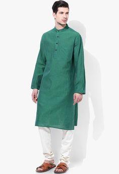 Design House Green Cotton Solid Long Kurta