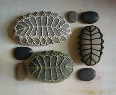 RESERVED Crocheted Lace Stone, Black Fern Stone, Handmade by Monicaj